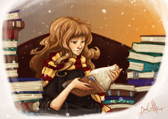 hermione_and_books_by_nary_san-d7e49x9